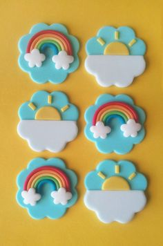 Fondant Cupcake Topper - Rainbow, Sun with cloud. Design - 6x 2D Rainbow, 6x 2D Sun with cloudOR 12x 2D Rainbow. Quantity - 12 in total (2 designs available). Materials - Fondant, Gumpaste. Reference image; Required date; Preferred size; Quantity. | eBay!
