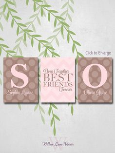 Twin baby girls wall art Twin baby gifts by WillowLanePrints