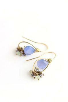 Brass Earrings with chalcedony, prehnite, rose amethyst and kunzite   Wire Wrapped Jewelry