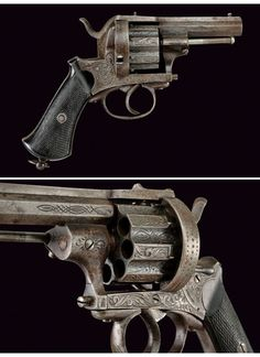 Engraved eight shot European pinfire revolver, mid 19th century.