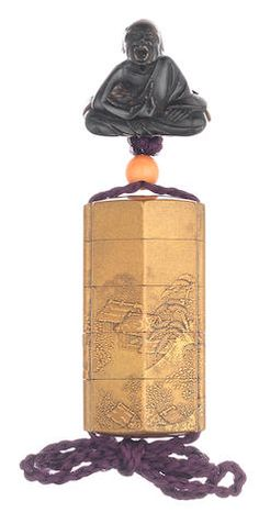 A small gold-lacquer four-case inro By the Inagawa Family, Edo period (1615-1868), 18th century