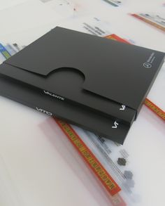 Presentation Pack comprises 2 slim document wallets in a slip case - material is recycled matt black PP with high gloss UV white print High Gloss, A4, Wallets, Recycling, Presentation, Packing, Slim, Black, Bag Packaging
