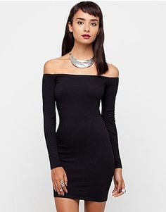 ASOS Fashion Finder | Motel Deborah Long Sleeve Off Shoulder Dress in Black