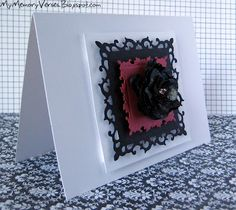 hand made greeting card in black white and red