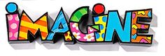Romero Britto Miniature Table Decor Word, Imagine: Collect all of the MINI words today! Made of Polyresin Approx. Britto Disney, School Murals, Arte Country, Graffiti Painting, Art Lessons Elementary, Heart Art, Painting For Kids, Rock Art, Art Quotes