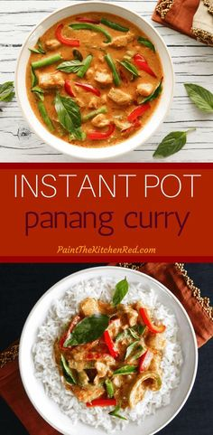 This Instant Pot Thai Panang Curry with Chicken tastes like it's from a Thai restaurant. Creamy coconut milk Panang curry paste chicken vegetables and spices come together to make a delicious curry that tastes great with jasmine rice. Quick and easy Panang Curry Chicken, Thai Panang Curry, Panang Curry Recipe, Panang Curry Paste, Thai Coconut Curry Chicken, Thai Street Food, Best Instant Pot Recipe, Instant Pot Dinner Recipes, Instant Pot Pressure Cooker