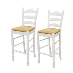 "Ladder Back Rush Seat Bar Stools 30"", Set of 2, Multiple Colors (White)"