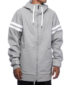 The Hal athletic grey 10K snowboard jacket from Volcom is the perfect jacket for all weather conditions. This athletic grey jacket features Volcom's signature pant-to-jacket interface and wrist adjustment system. The dual zippers have a whistle pull so yo