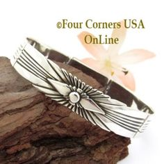 Silver Link Fitted 6 Inch Bracelet Box Clasp Navajo Lutricia Yellowhair NALB-161 Four Corners USA OnLine Native American Jewelry