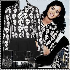 """my new skull fashion obsession lol """"Katy Perry wearing a skull shirt!"""" by kuromigirl on Polyvore"""