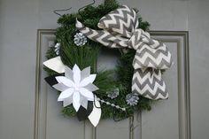 Winter Pine Wreath/Felt Poinsettia/Chevron Burlap by LizzyDesigns