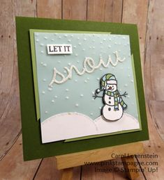 Let It Snow – Snowman; November Card Class (2 of 5); Sparkly Seasons, Seasonal Frame Thinlits; design by Carol Carol Lovenstein  www.pinkstampagne.com; Stampin' Up! Card Idea