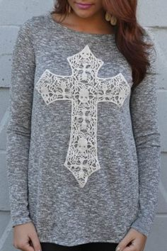 Casual Scoop Neck Laced Crucifix Pattern Long Sleeve T-Shirt For Women T-Shirts | RoseGal.com Mobile