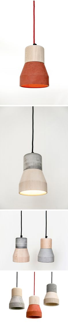 Lamps made of concrete and wood. By Thinkk Studio for the brand SPECIMEN.