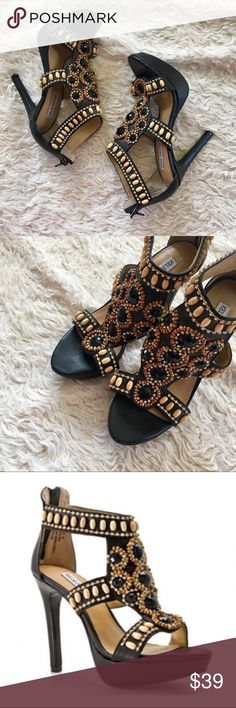 """KELSI DAGGER Grace Beaded Platform Heels Sandals Black leather heels with tan bead, and rhinestone embellishments. Heel height: 4.5"""", platform: 1"""". Small flaw on front left toe as shown in photo. ✨OFFERS WELCOME✨ Kelsi Dagger Shoes Heels"""
