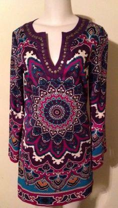 Nicole Miller Purple Multi Colored Paisley Tunic BOHO Bohemian Dress Size 4 $29.99 #bohemian #tunic #nicolemiller