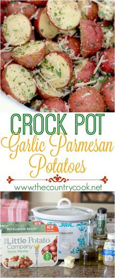 Crock Pot Garlic Parmesan Little Potatoes recipe from The Country Cook. These can be made in the microwave or the slow cooker. So, so good! Crock Pot Potatoes, Slow Cooker Garlic Parmesan Potatoes, Roasted Potatoes In Crockpot, Country Potatoes Recipe, Crock Pot Ham, Potatoes In Microwave, Crock Pots, Small Potatoes Recipe, Crock Pot Slow Cooker