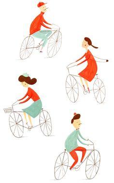 Color Inspiration : Bicycles Art Print by Ekaterina Trukhan Bike Illustration, People Illustration, Bicycle Print, Cycling Art, Cycling Tattoo, Bike Art, Beatrix Potter, Color Inspiration, Daily Inspiration