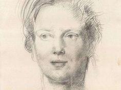 Portrait drawing of Princess Margarethe of Denmark by Pietro Annigoni