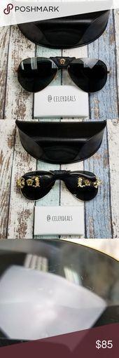 Gold Women's Made in Italy! Versace Sunglasses, Women's Sunglasses, Sunglasses Accessories, Gold Material, Lenses, Italy, Italia