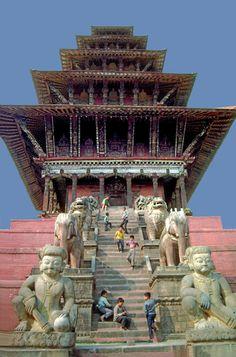 Nyatapole Temple in Bhaktapur, Nepal Nepal Kathmandu, Bhutan, Temples, Oriental Countries, Mount Everest, Religious Architecture, Vietnam, Travel Memories, India Travel