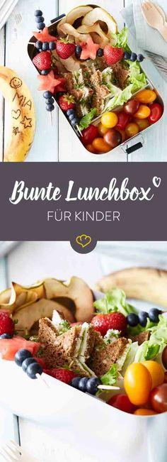 Wenn den Kleinen aus der Lunchbox Obst-Chips, Fruchtspieße,belegtes Sternchen-Brot und buntes Gemüse entgegen lächeln, können Kinderaugen nur noch strahlen.