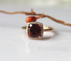 14k Rose Gold Ring 8mm Cushion Cut VS Garnet Ring by RobMdesign. Graduation ring…