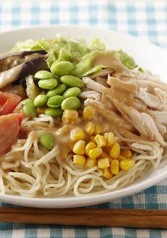夏野菜たっぷり冷やし中華(ごまだれ風味)