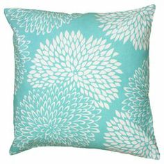 "Cotton pillow with a floral motif.  Product: PillowConstruction Material: Cotton coverColor: Light blueFeatures: Insert includedDimensions: 18"" x 18"""