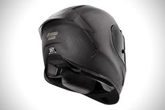 """This new entry for the Icon Airframe Pro helmet is aimed at the """"Crouching rider, fast motorcycle"""" combination. The helmet is designed for those Carbon Fiber Motorcycle Helmet, Motorcycle Helmet Design, Motorcycle Style, Motorcycle Outfit, Women Motorcycle, Custom Motorcycle Helmets, Custom Motorcycles, Honda Motorcycles, Vintage Motorcycles"""