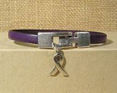 Alzheimer Awareness Bracelet - 5mm Flat Leather (5A-104). $10.00, via Etsy.