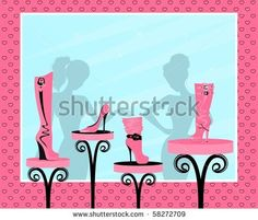 Vector fashion footwear sales in the window of shop - stock vector id 58272709