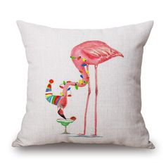 Pink Flamingo Linen Cushion Cover for Throw Pillows, Christmas Theme