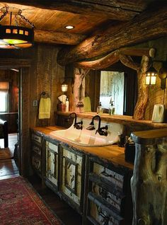 So artistic, functional and warm for a Rustic Cabin Bathroom!