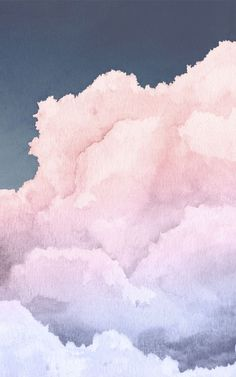 Float above the soft clouds in your space with this ethereal sky wallpaper mural, painted in pastel sunset tones with pink, purple and blue watercolors. Created by designer Jess, this highly detailed wall design works beautifully to create a number of different interior styles – whether you're decorating a cute kids' room, dreamy nursery, serene bedroom or a spa-like bathroom space. Wallpaper Pink And Blue, Pastel Color Wallpaper, Phone Wallpaper Pink, Pastel Color Background, Watercolor Wallpaper Iphone, Watercolor Clouds, Cloud Wallpaper, Colorful Wallpaper, Pink Watercolor
