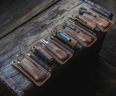 Handmade Leather EDC Gear for Tools, Flashlights, Multitools and more! Leather Pouch, Leather Belts, Edc Everyday Carry, Edc Carry, Edc Gear, Leather Projects, Stitching Leather, Leather Watch Bands, Leather Working