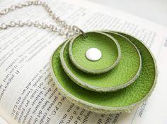 Emerald green leather pendant  circle pendant by katrinshine, $14.00