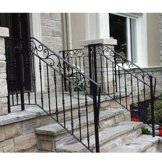 Exterior Wrought Iron Railing Custom Railings In North York Omega And. Porch Step Railing, Painted Stair Railings, Wrought Iron Porch Railings, Garden Railings, Outdoor Stair Railing, Interior Stair Railing, Porch Steps, Wrought Iron Fences, Railing Ideas