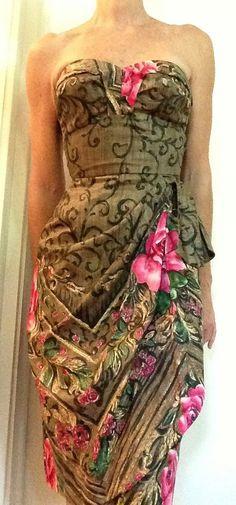 Vintage 50s Bombshell Hawaiian Strapless Sarong Dress on Etsy, $245.00