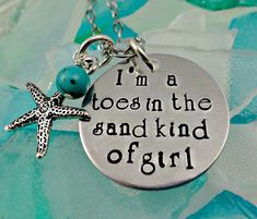 Toes In the Sand Necklace or Bangle Bracelet- Beach Vacation - Starfish Turquoise - Hand Stamped