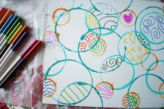 Circle art {Craft Camp} | Skip To My Lou  I really like this...it's unique and fun!