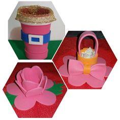 Porta Confete no copo ... porta bombom na Rosa ... e na cesta porta Goma ... todos para enfeites de festa infantil .. ou Convites  ou mesmo de lembrança da presença na Festa.  Tudo em EVA ..  Em qualquer Cor.