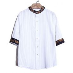 Retro Style Stand Collar Print Purfled Slimming Men's Half Sleeves Cotton Shirt