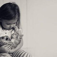 """""""I take care of you kitty."""" This adorable little girl and her kitty picture is Animals For Kids, Baby Animals, Cute Animals, Little Kittens, Cats And Kittens, Crazy Cat Lady, Crazy Cats, Son Chat, Cat People"""