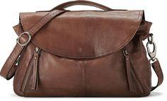 Diese stylische Handtasche von Cox strahlt aus weichem Leder stilvoll in Braun und zeigt ein lässiges Design mit blickfangenden Zippern-Details und rockigen Lederflags.