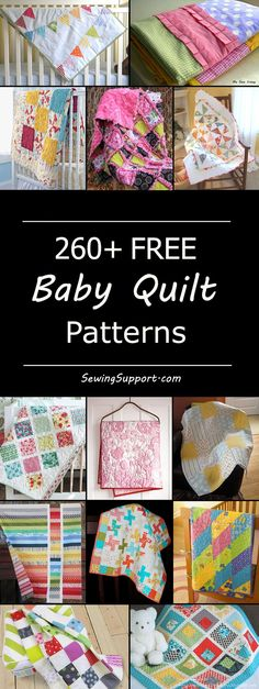 Sew adorable baby quilts with this collection of 260 free baby quilt patterns. Many designs simple and easy enough for a beginner to sew. Sew boy, girl, and gender neutral quilts; tradtional, modern quilts and more. Baby Quilts Easy, Baby Girl Quilts, Quilt Baby, Free Baby Quilt Patterns, Sewing Patterns Free, Quilting Designs, Quilting Ideas, Quilting Projects, Sewing Projects