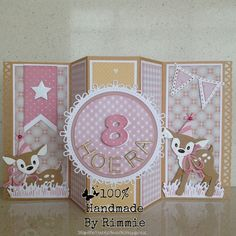 Handmade By Rimmie Flip Cards, Fun Fold Cards, Folded Cards, Baby Cards, Kids Cards, Kids Birthday Cards, Birthday Numbers, Bambi, Marianne Design Cards