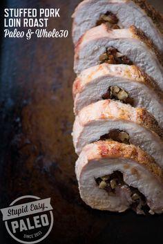 Paleo Stuffed Pork Loin Roast | stupideasypaleo.com #paleo #holiday #whole30