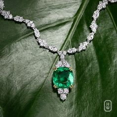 Harry Winston. An enchanting emerald and diamond necklace complements summer's lush garden greens.