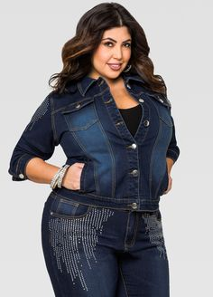 Rhinestone Sleeve Jean Jacket - Ashley Stewart
